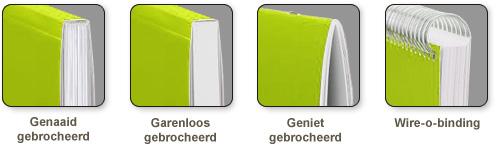 Genaaid- garenloos of geniet gebrocheerd of Wire-o-binding